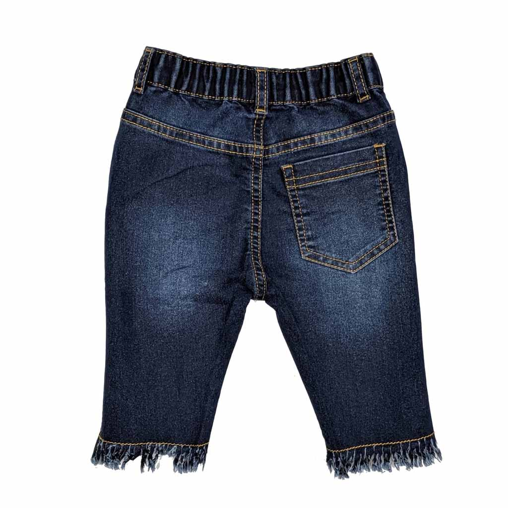 Girl's Elasticated Denim Jeans Capri, Distressed & Flared, Blue