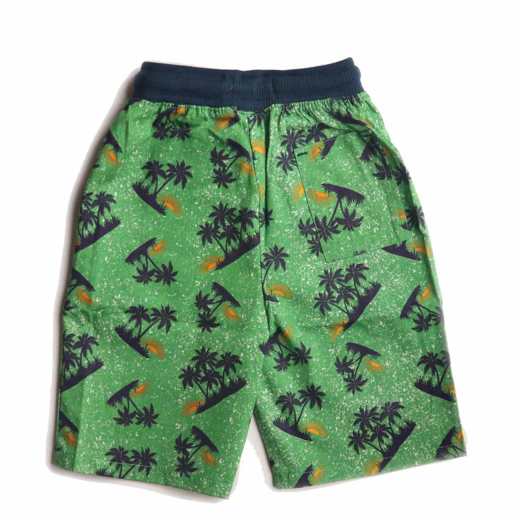 Boys Cotton Bermuda, Printed Shorts, Green