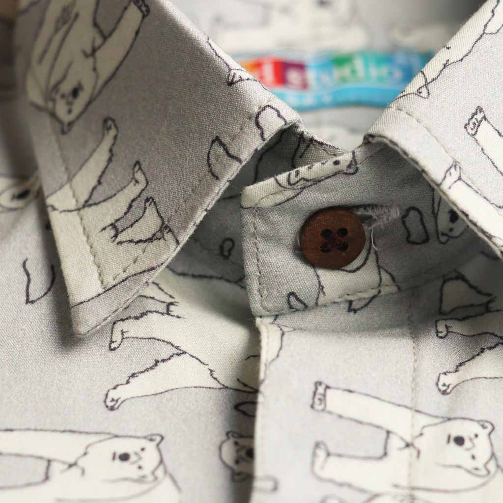 Boy's Long Sleeve Printed Shirt, Light Grey - www.kidstudio.in