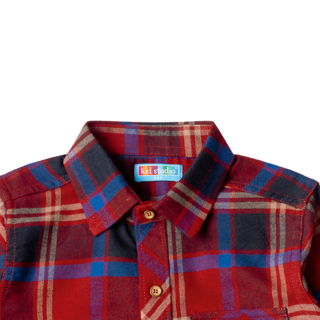 Boys Red & Blue Flannel Shirt