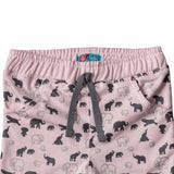 Girl's French Terry Joggers, Animal Print, Baby Pink