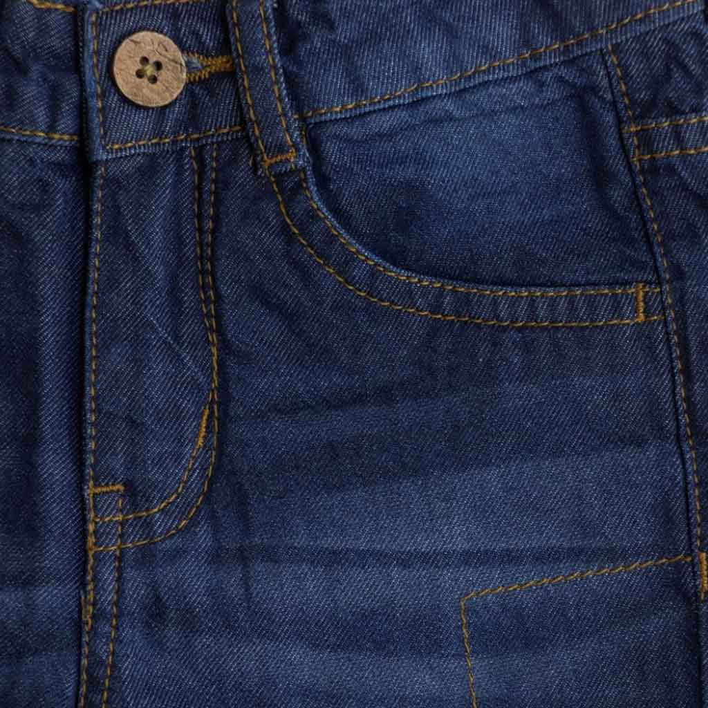Boy's Denim Jeans Short, With Hem, Dark Blue
