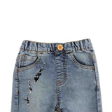 Girl's Denim Jeans Elasticated Short, Blue