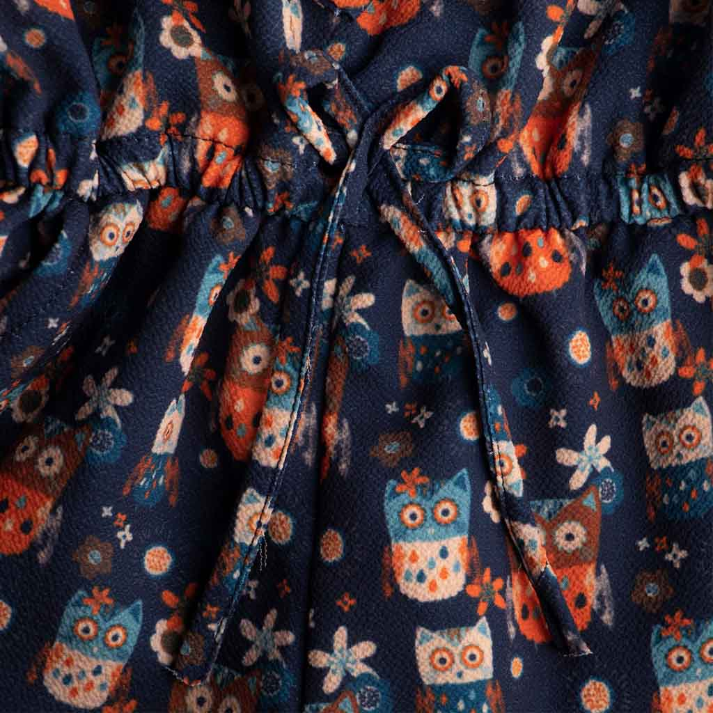 Girls Blue Owl Print Jumpsuit