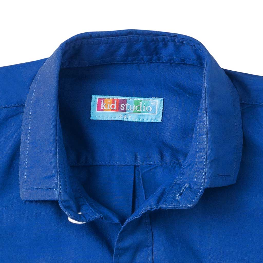 Boys Royal Blue Cotton Twill Shirt