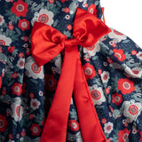 Girl's Partywear Casual Dress, Floral Print, Navy Blue