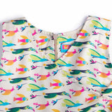 Girl's Partywear Casual Printed Dress, Off White - www.kidstudio.in