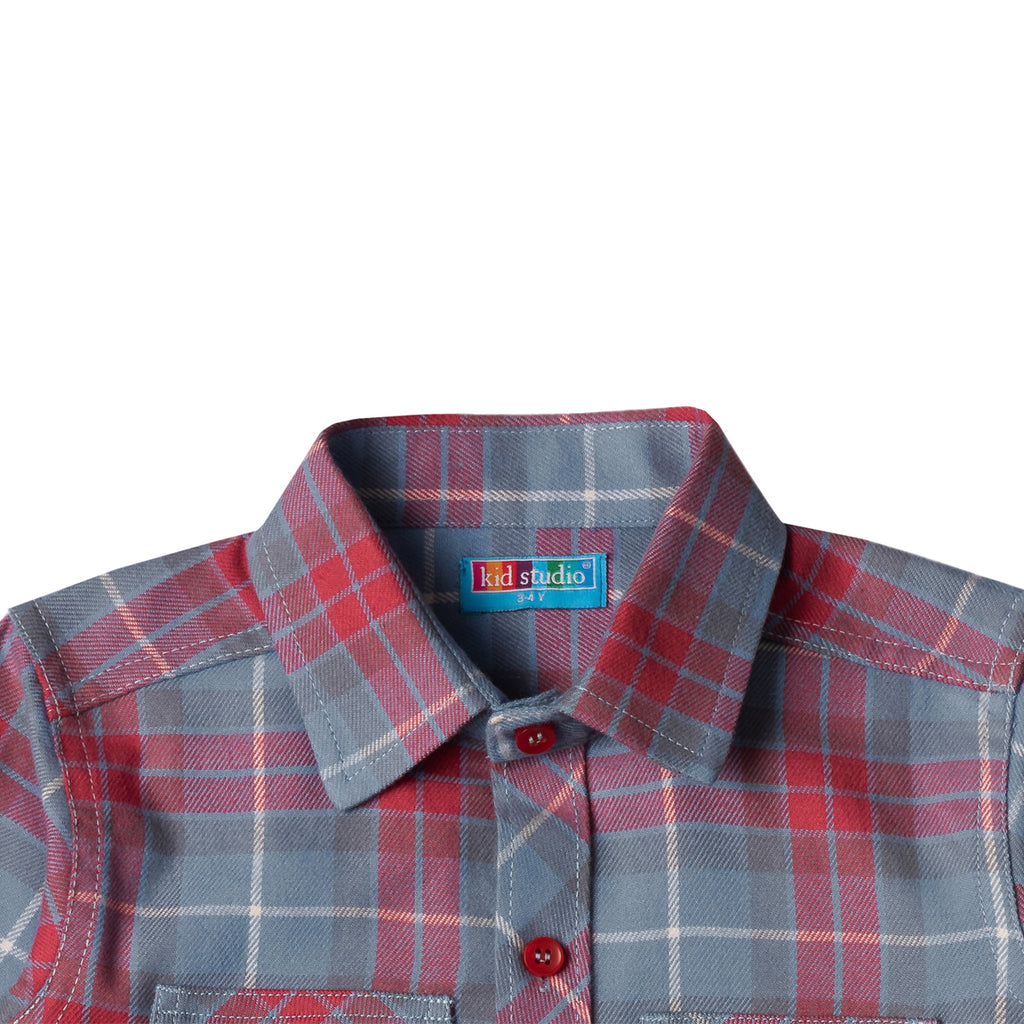 Boy's Long Sleeve Check Shirt, Grey