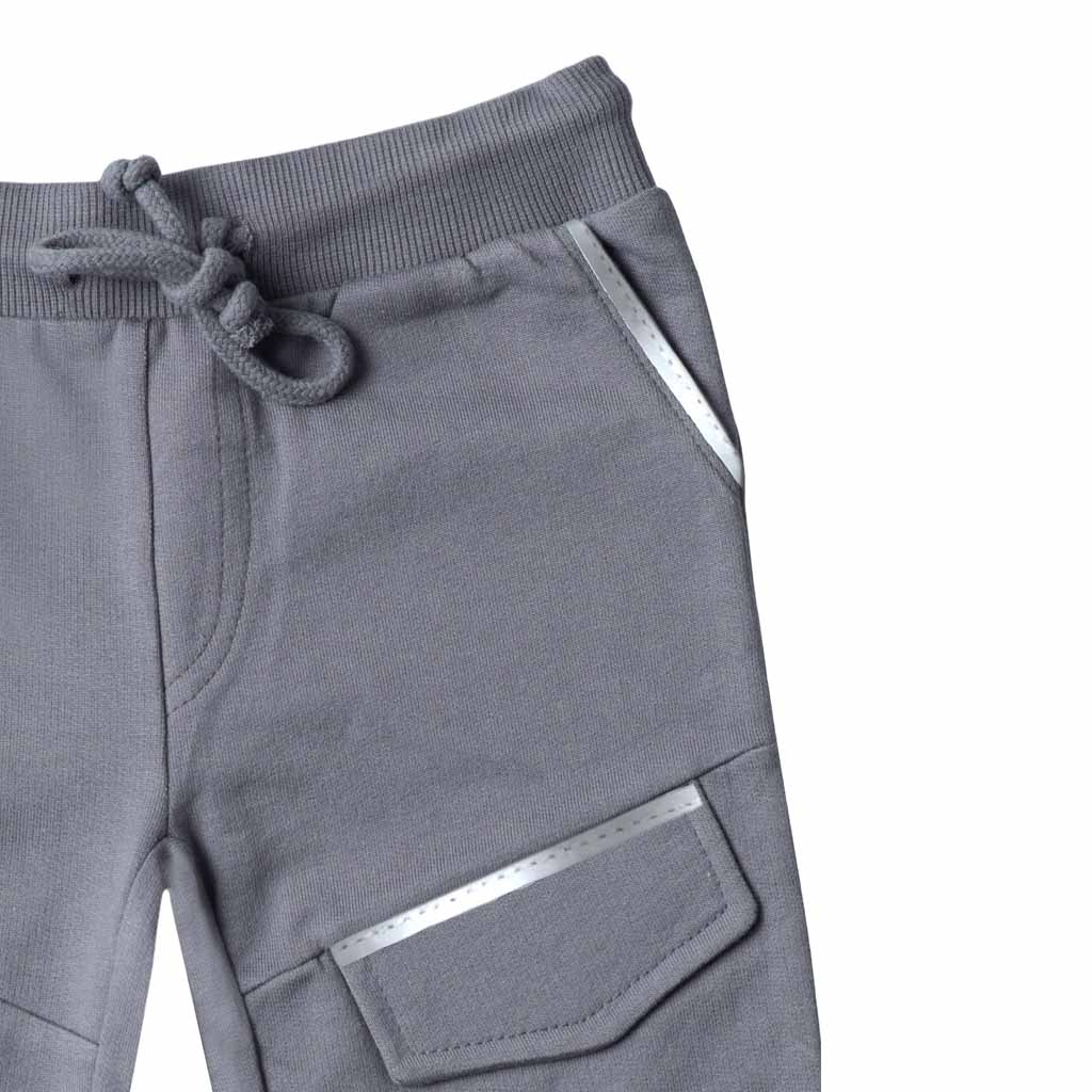 Boys Grey Reflective Knit Joggers