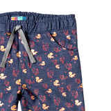Girl's French Terry Joggers, Animal Print, Blue Melange - www.kidstudio.in
