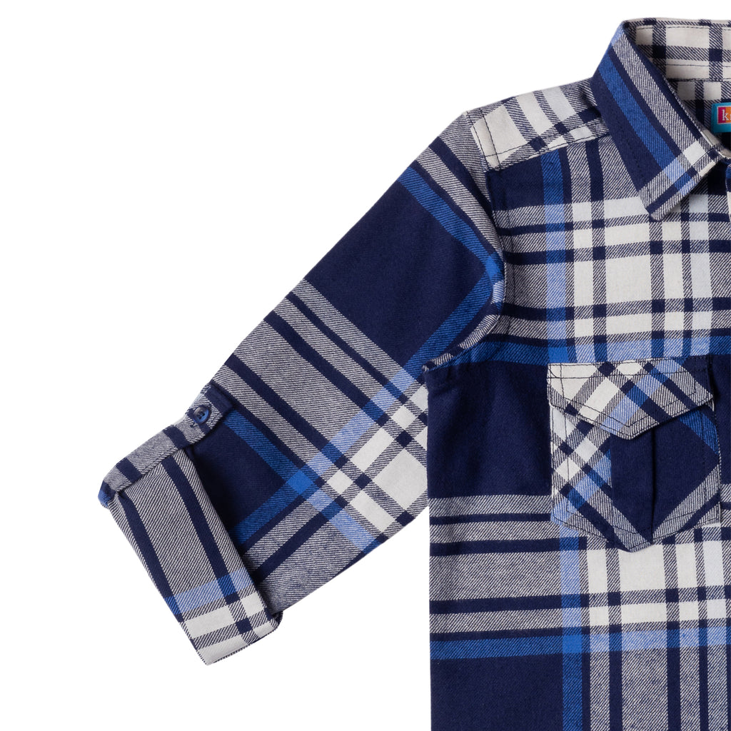 Boy's Long Sleeve Check Shirt, Navy Blue - www.kidstudio.in