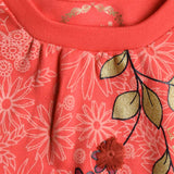 Girl's 3/4th Sleeves Top, Floral Print, Peach