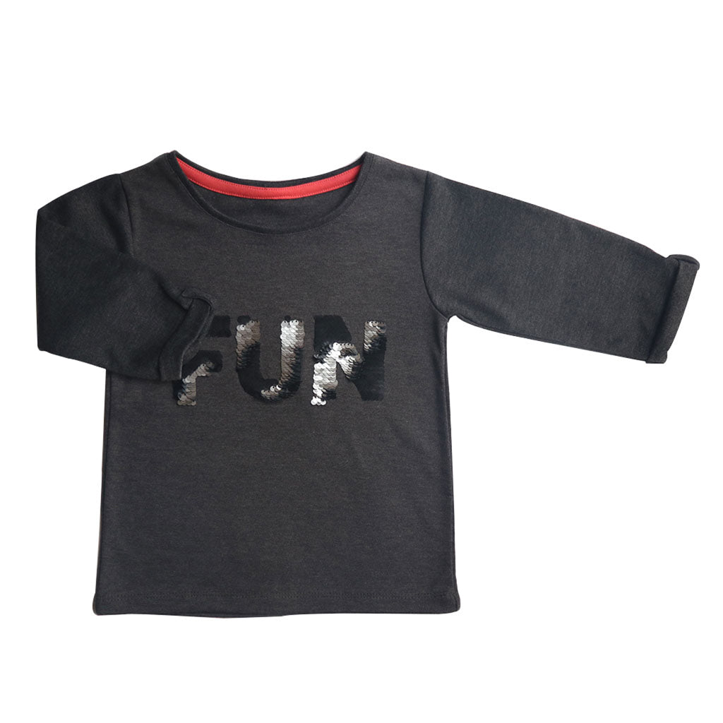 Girl's 3/4th Sleeve Top, Sequin Print, Black - www.kidstudio.in