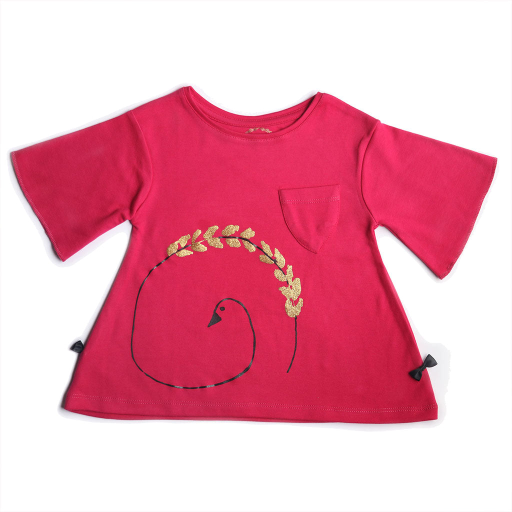 Girl's 3/4th Sleeve Top, Graphic Print, Magenta Pink - www.kidstudio.in