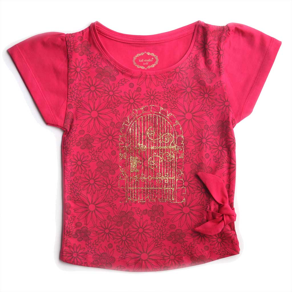 Girl's Short Sleeve Tshirt with Knot, Floral Print, Magenta Pink - www.kidstudio.in