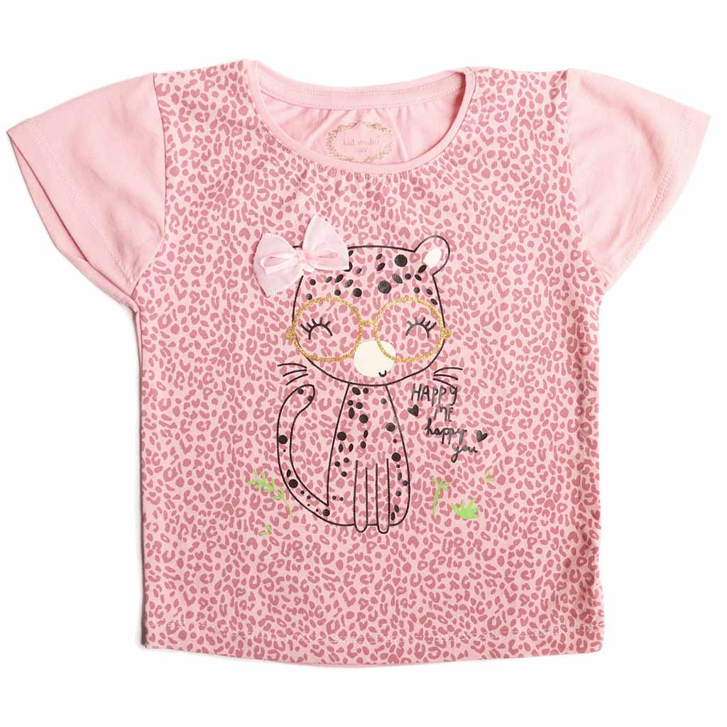 Girl's Short Sleeve Printed Tshirt with 3D Bow, Baby Pink