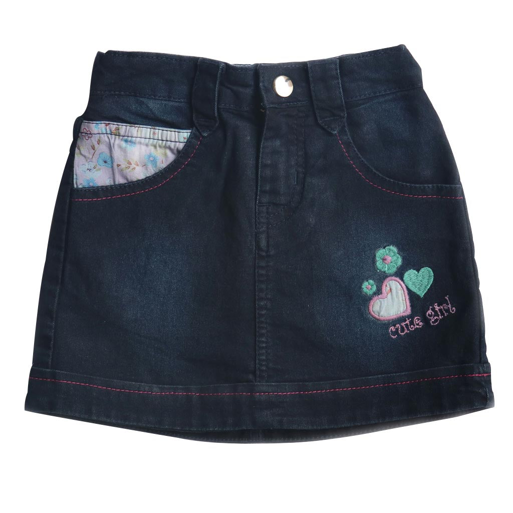 Girl's Denim Jeans Skirt, Dark Blue