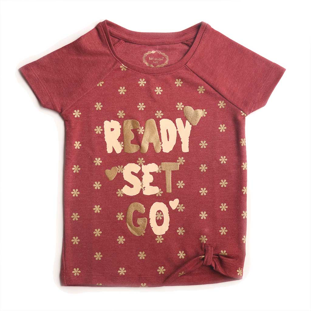 Girl's Short Sleeve Tshirt with Knot, Graphic Print, Maroon