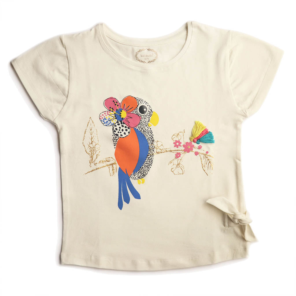 Girl's Short Sleeve Tshirt with Knot, Graphic Print, Off White - www.kidstudio.in