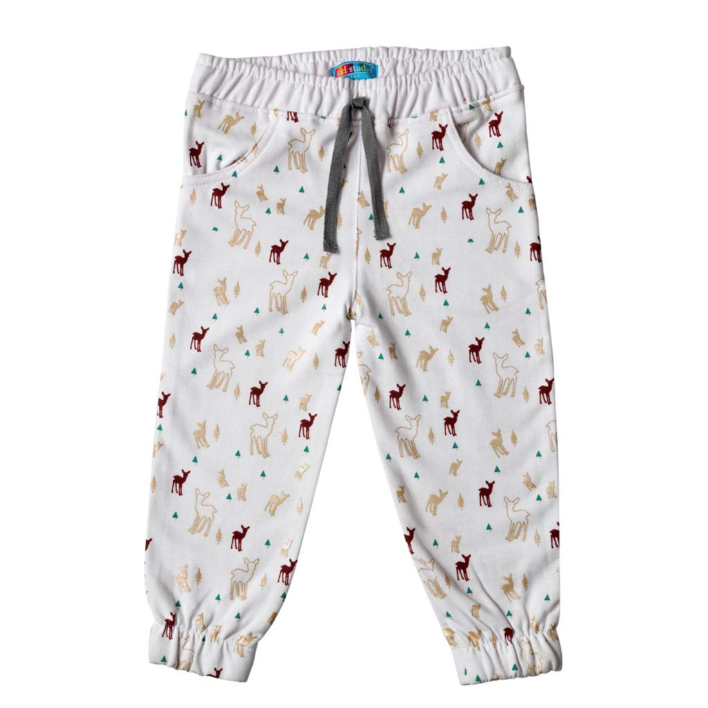 Girl's French Terry Joggers, Animal Print, White