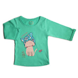 Girl's 3/4th Sleeve Tshirt, Graphic Print, Sea Green - www.kidstudio.in