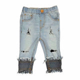 Girl's Elasticated Denim Jeans Capri, Distressed & Flared, Light Blue