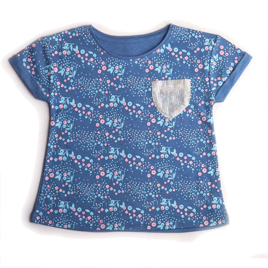 Girl's Short Sleeve Printed Top with Pocket, Blue
