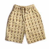 Boys Cotton Bermuda, Printed Shorts, Beige