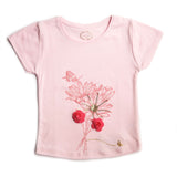 Girl's Short Sleeve Tshirt, Floral Print, Light Pink