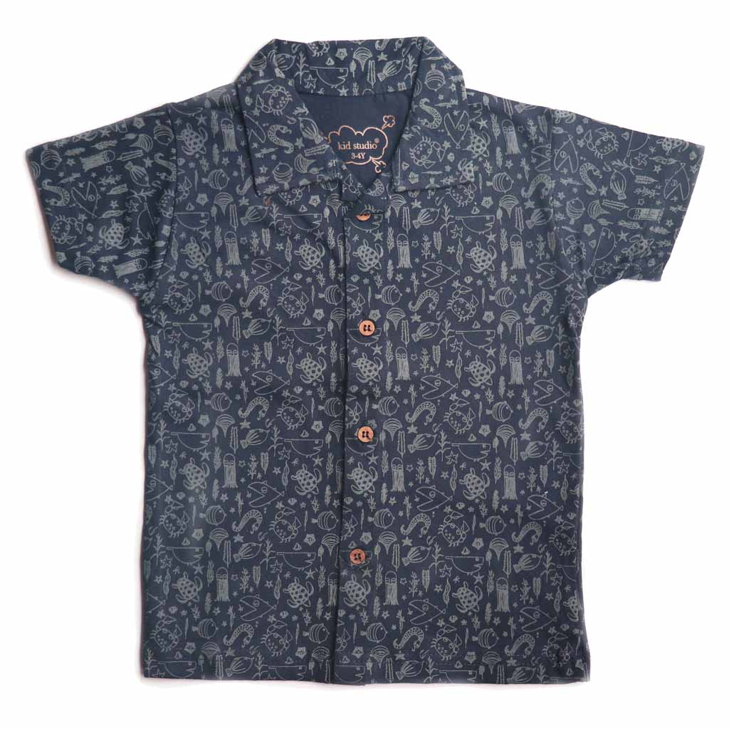 Boys Half Sleeve Single Jersey Printed Shirt, Dark Blue - www.kidstudio.in