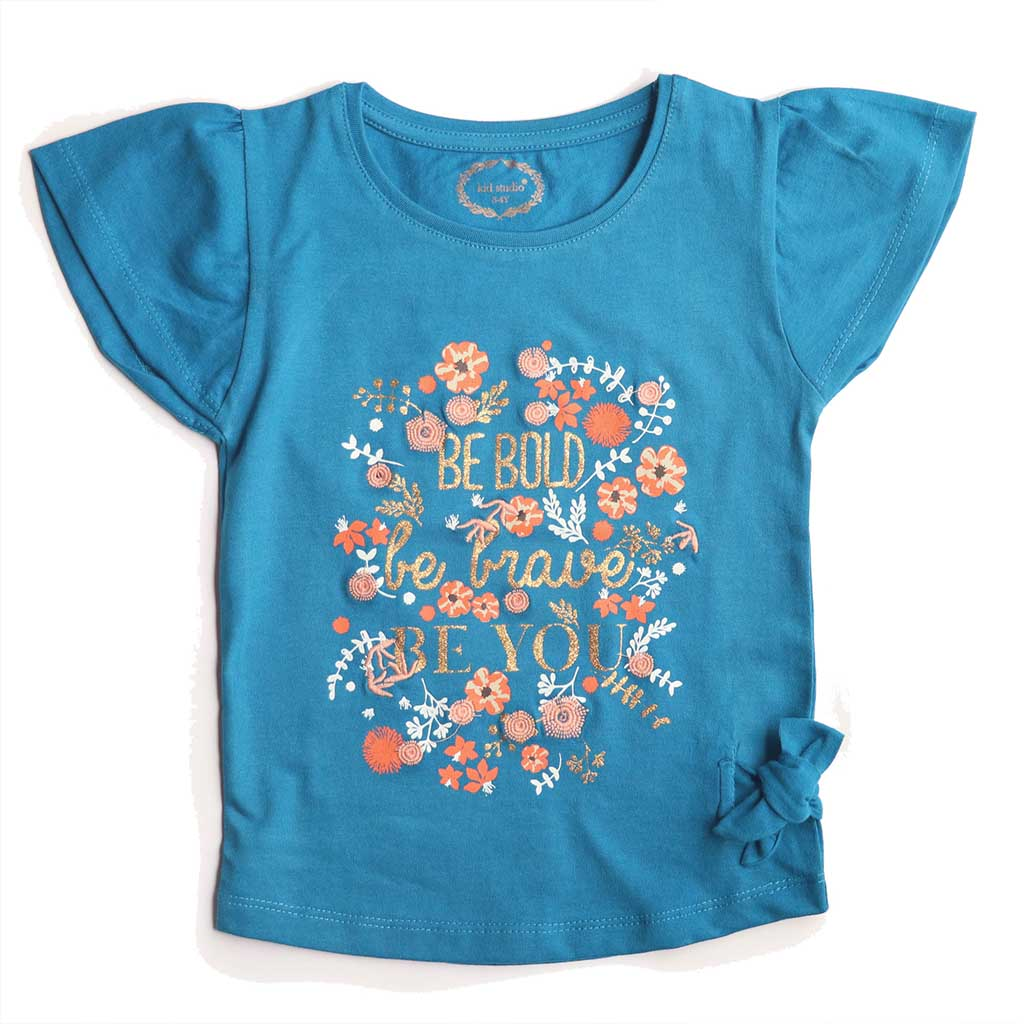 Girls Blue Floral Print Top
