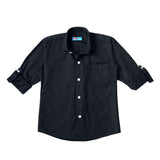 Boy's Long Sleeve Plain Shirt, Black