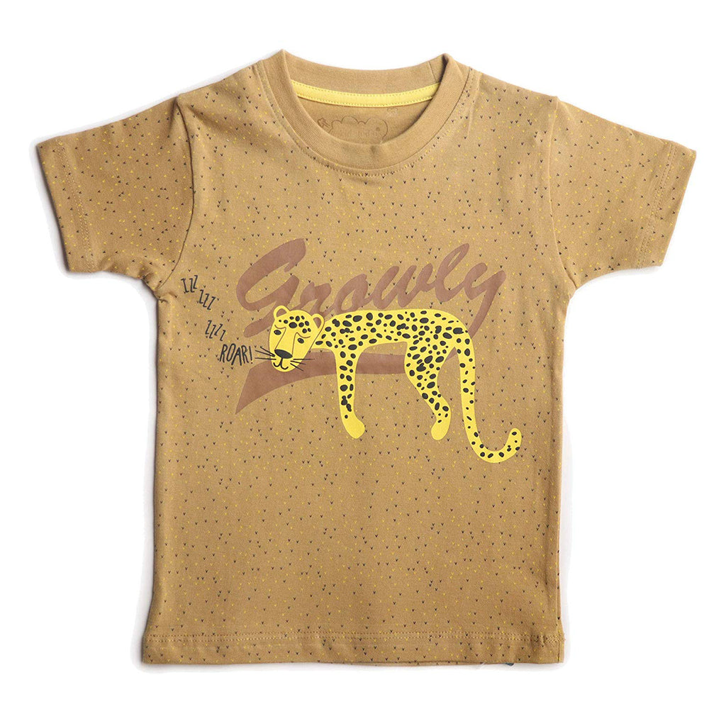 Boys Half Sleeve Printed Tshirt, Mustard Yellow - www.kidstudio.in