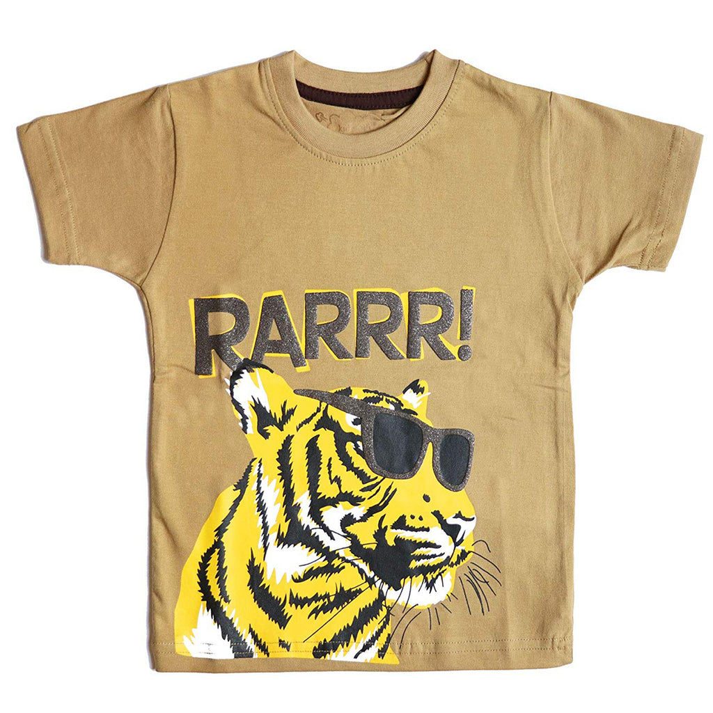 Boys Half Sleeve Tshirt, Tiger Print, Mustard Yellow - www.kidstudio.in