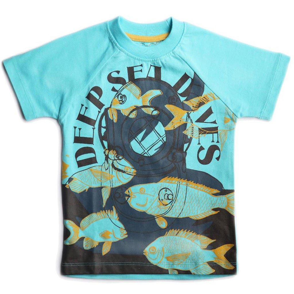 Boys Half Sleeve Tshirt, Graphic Print, Aqua Blue
