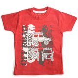 Boys Half Sleeve Tshirt, Graphic Print, Red Melange