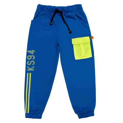kids blue knit cargo joggers - www.kidstudio.in