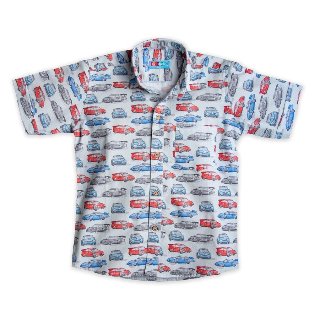 Boy's Cotton Half Sleeve Printed Shirt, White
