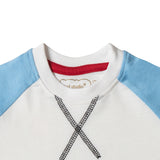 Boy's Half Sleeve Tshirt, Sequin Print, White & Light Blue - www.kidstudio.in