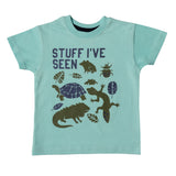 Boy's Half Sleeve Tshirt, Animal Print, Light Blue - www.kidstudio.in