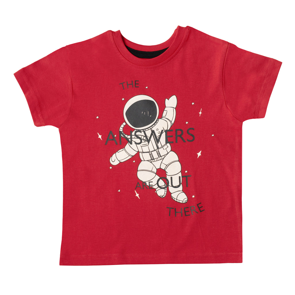 Boys Red Astronaut Print T-shirt