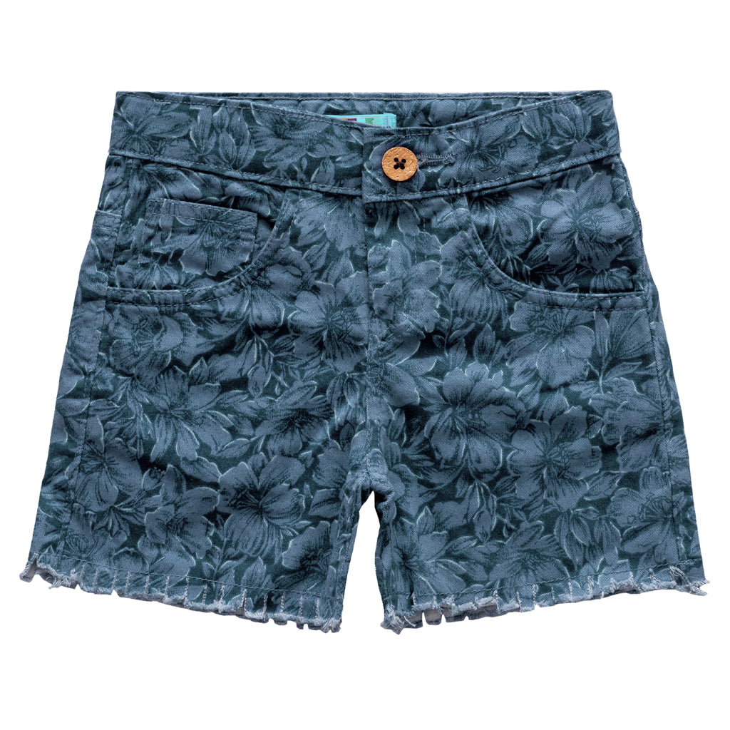 Girls Blue Floral Print Short