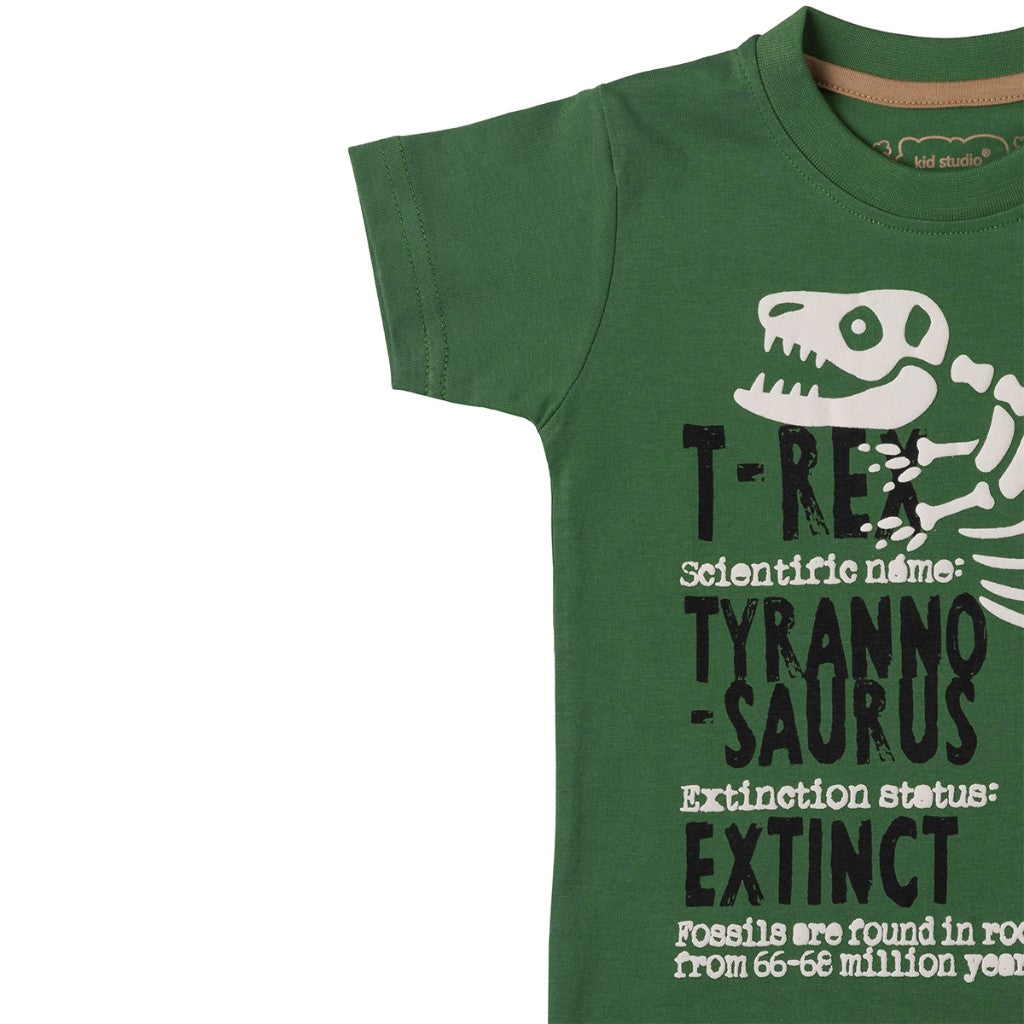 Boys Green Dino Print T-shirt