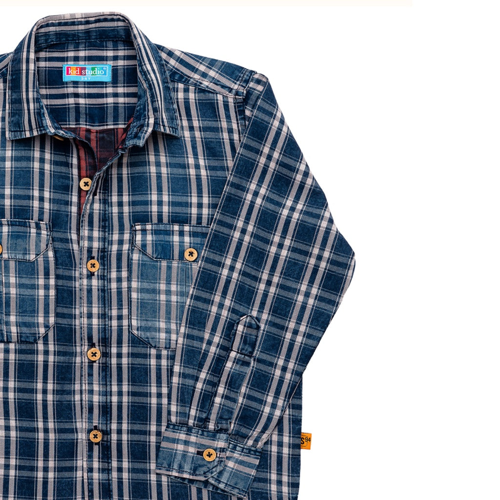 Boys Blue Indigo Checks Denim Shirt