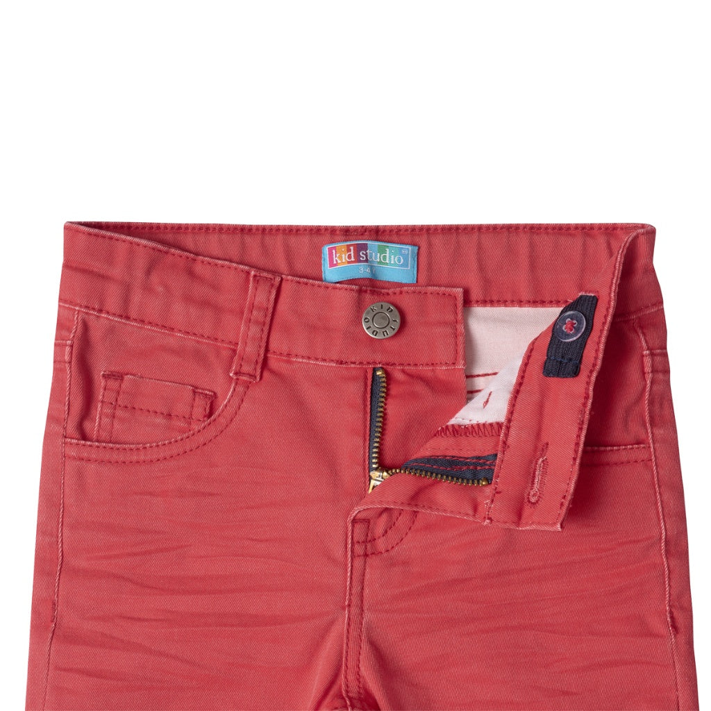 Boys Red Slim Fit Stretch Chinos