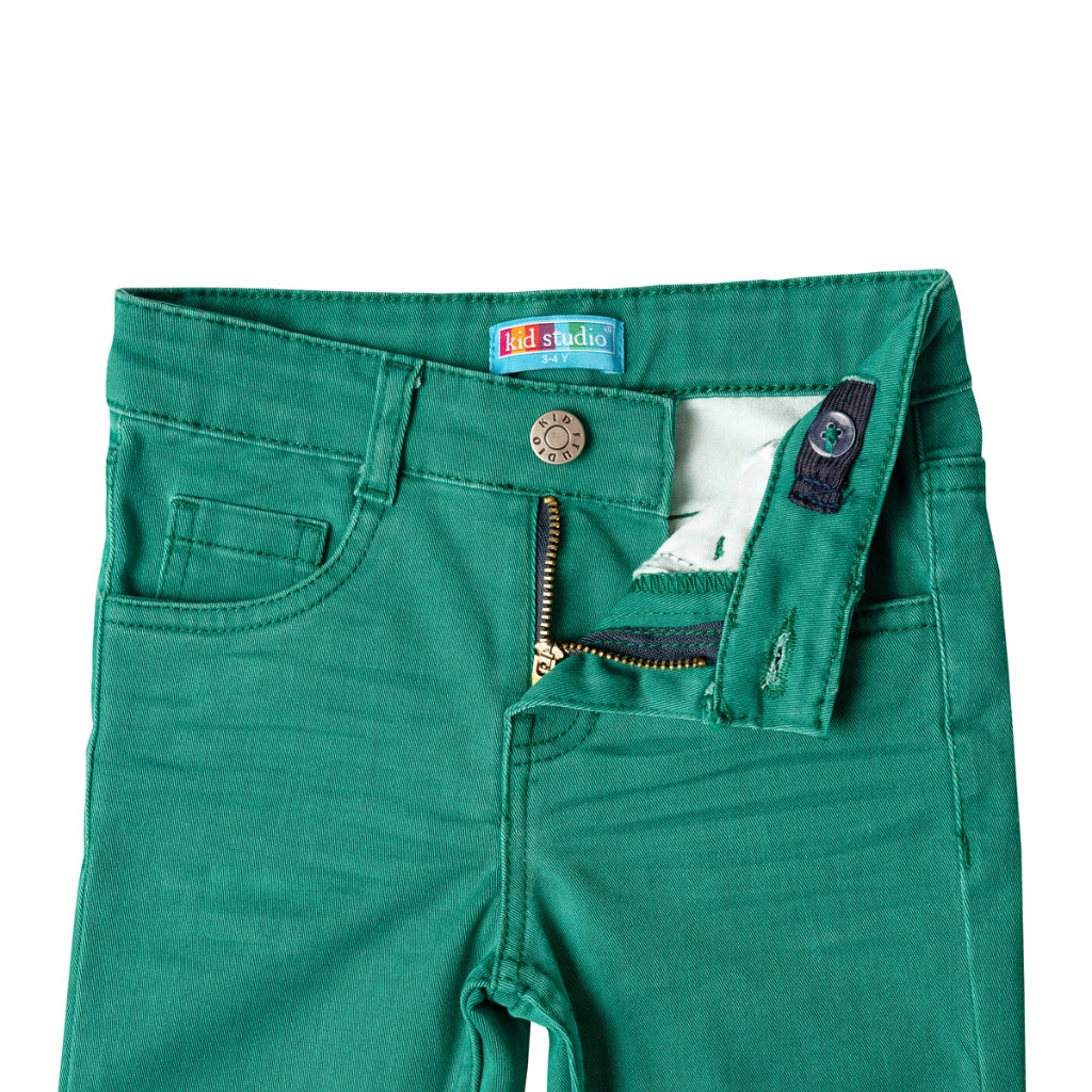 Boys Green Slim Fit Stretch Chinos