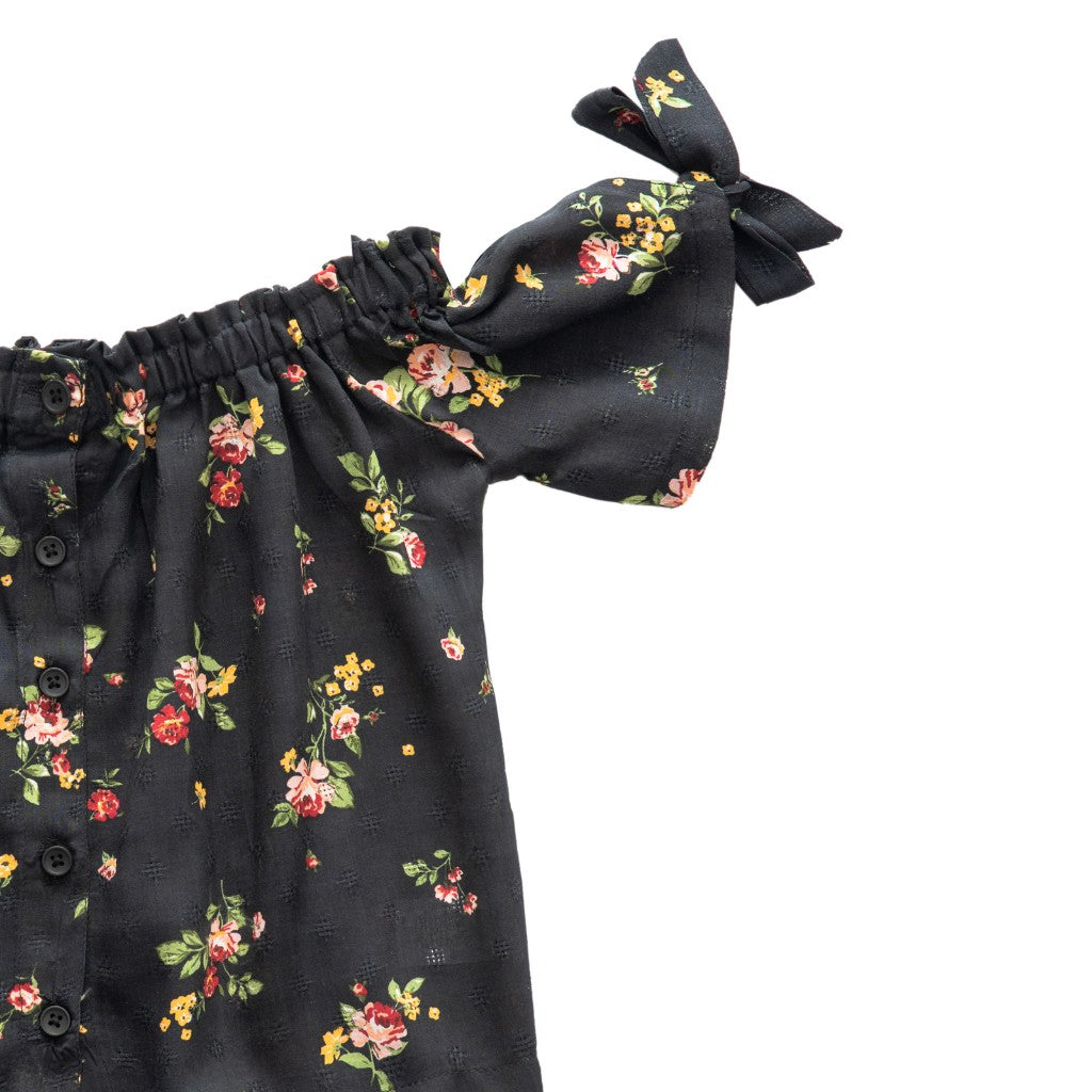 Girls Floral Printed Off Shoulder Top, Black