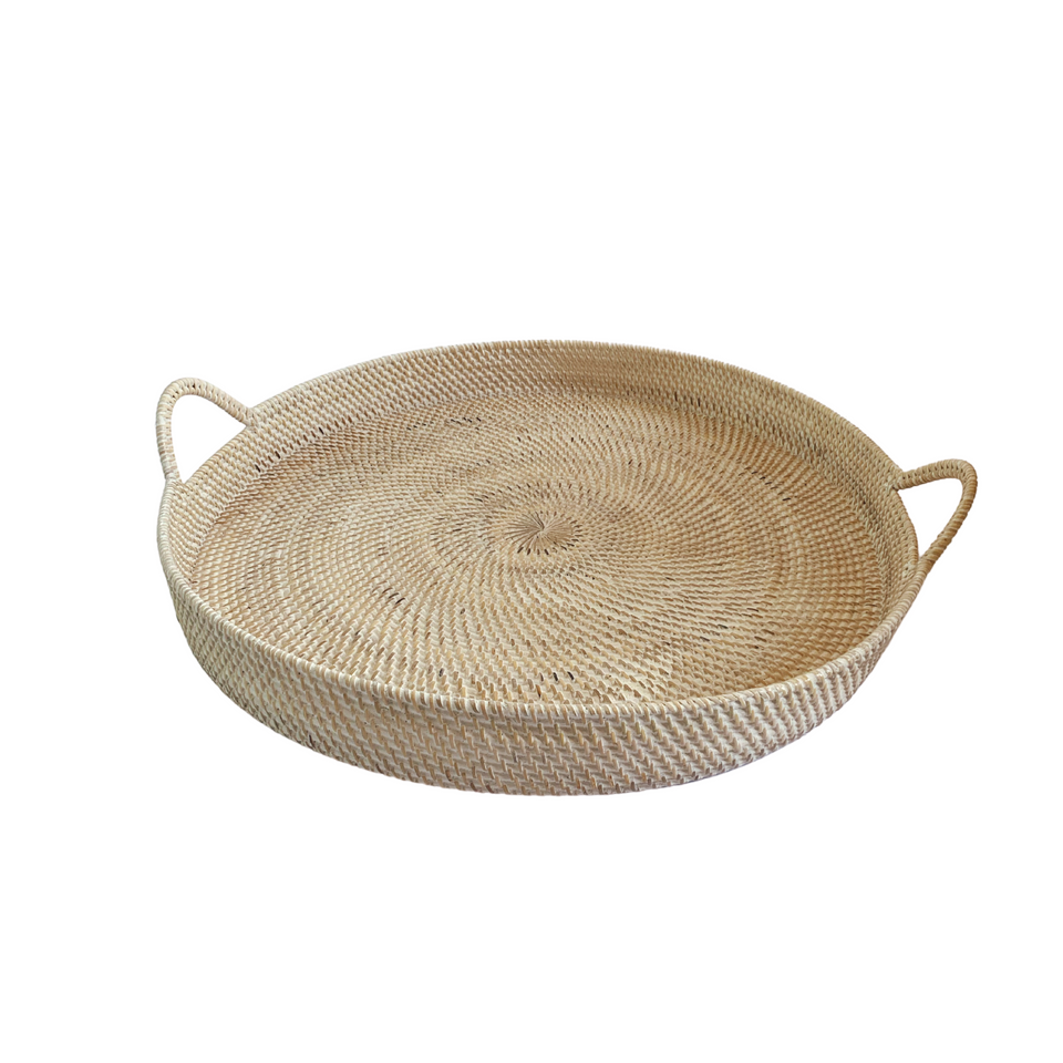 Large Round Tray - White Wash Rattan