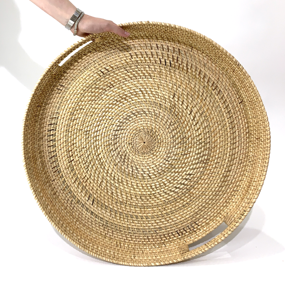 Large Round Tray - Natural Rattan