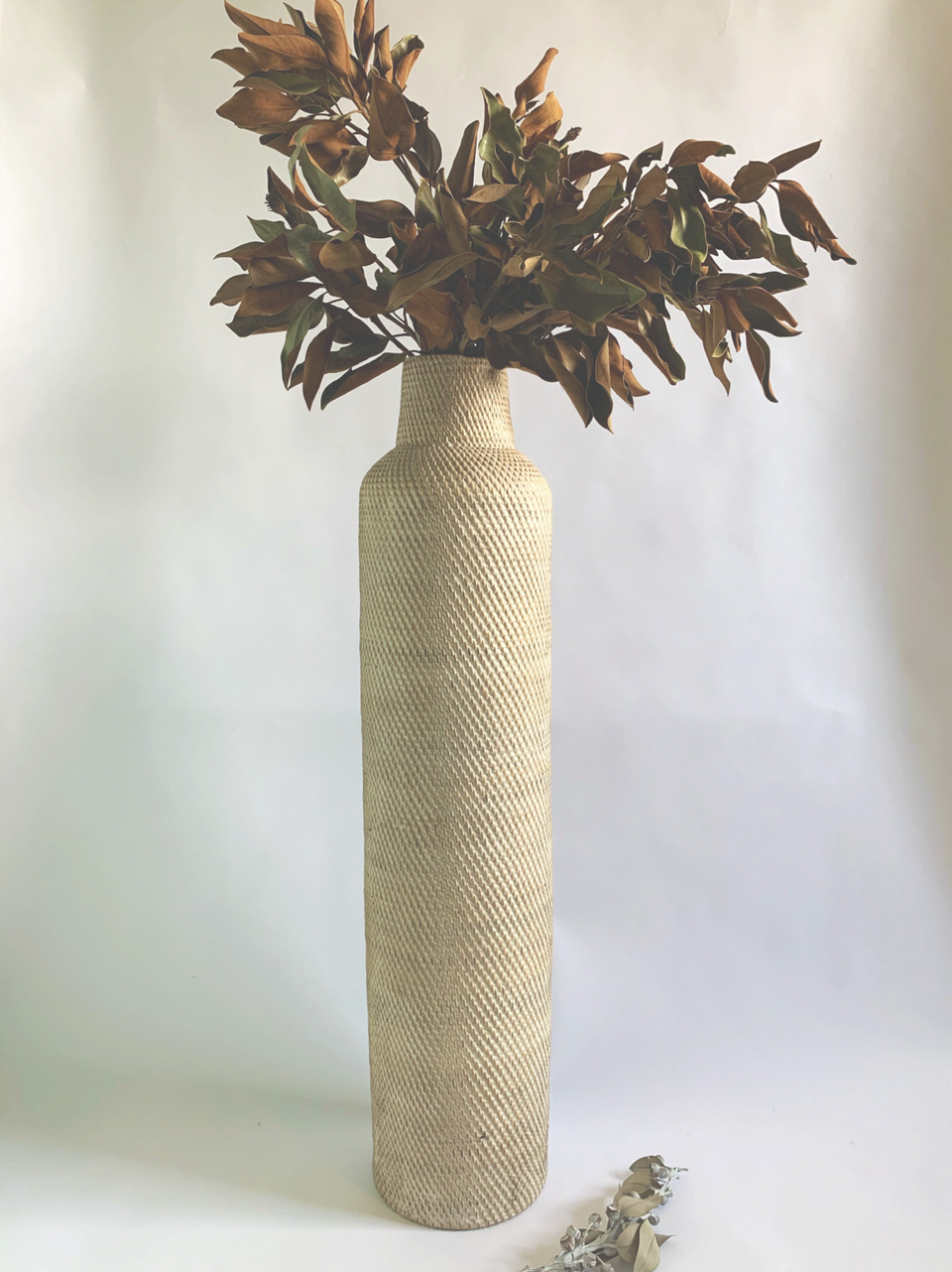 Basket Vase / Umbrella Holder - White Wash Rattan